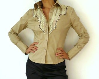 French Vintage Western Shirt with Lace Trim
