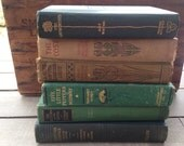 RESERVED for Kendall: Set of 3 Antique Green Books for your library