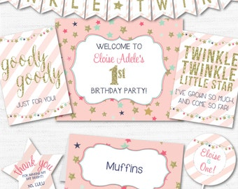 INSTANT DOWNLOAD EDITABLE Pink and Gold Twinkle Twinkle Little Star Party Package 1st and 2nd Birthdays