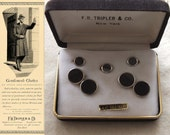 SALE now 45.00 for the Holidays F. R. Tripler & Co. mid century Cuff link Set from ca: 1960s 14K Gold Filled with black cabacon stones