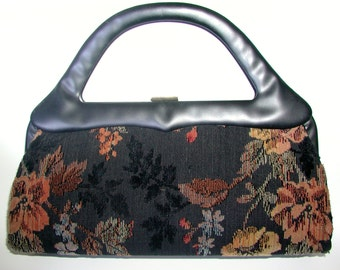 Vintage Handbag, Beautiful Black Floral Tapestry Sculptural Handle Vintage Handbag