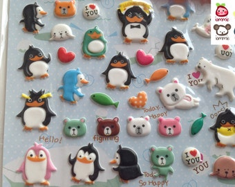 Animal Sticker, animals stickers, animals sticker, animal stickers, penguin, seal, fish, north pole, white, polar bear, cartoon, colorful