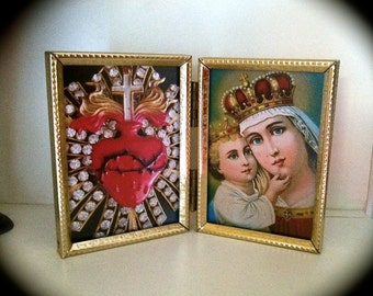 Vintage MARY Child & SACRED HEART Framed Vintage Photographs-  A perfect holiday gift for a collector