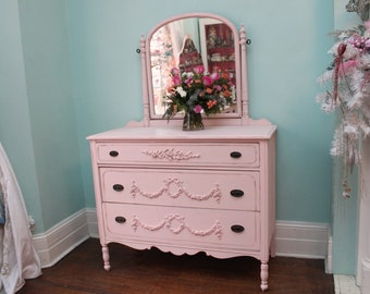 custom order Antique Dresser Shabby Chic pink distressed cottage girl changing table vintage Cottage roses bows