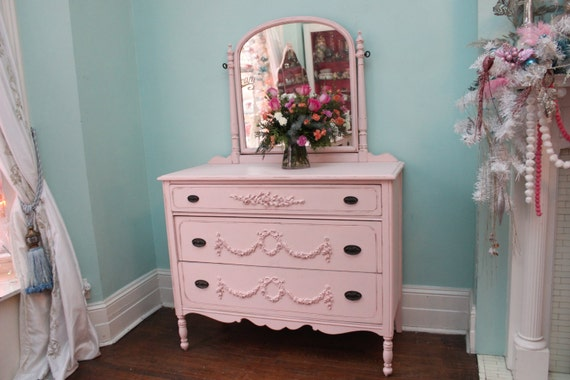 Custom Order Antique Dresser Shabby Chic Pink Distressed