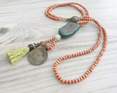 Custom Order for Sena - Long Mala Tassel Necklace in Green and Brown with Vintage Tribal Gypsy Coin Pendant