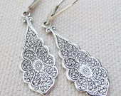 Dangling Silver Earrings, Sterling Silver, Art Nouveau Style Earrings, Teardrop Earrings, Silver Earring, Lever Back Ear Wire