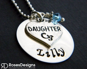 Personalized Daughter Necklace, Handstamped Necklace, Personalized Gifts, By RosesDesigns
