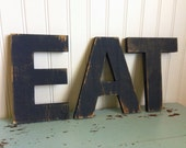 """EAT Kitchen Letters - 12"""" tall - Cottage Shabby Distressed"""