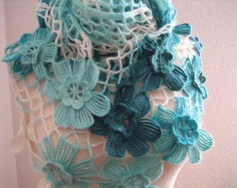 Lacy Shawl, scarf, wrap, blue,variegated, fancy,hand crocheted, sooooooo beautiful, new