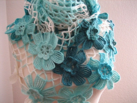 Lacy Shawl, scarf, wrap, blue,variegated, fancy,hand crocheted, sooooooo beautiful, new