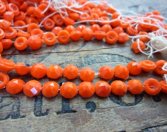 Glass Nail Head Bead Faceted Bead Antique Orange 5mm Nailhead Beads (50 Beads )