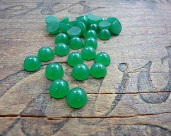 Cabochon 7mm Jade Green Small Glass Cabochon (10)