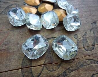 Vintage Large 18x22mm Rectangle Crystal Rhinestone (1)