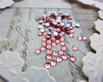Vintage Swarovski SS12  3mm Glass Chaton Rose Peach (25)