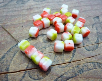 Czech Glass Bead Cube Beads Red Chartreuse and White Striped (30)