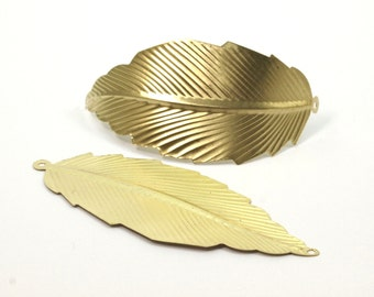 Leaf Necklace Pendant, 6 Raw Brass Leaf Pendant With 2 Holes (75x31mm) D065--c031
