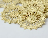 Vintage Style Gold Plated Brass Round Filigree Findings 34mm (8)