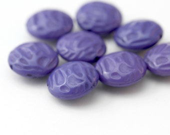 Vintage Dimpled Textured Flat Round Purple Lucite Beads 16mm (8)