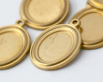 Vintage Raw Brass Oval Cameo Pendant Frame Settings Charms 18mm (11x9mm inside) (6)