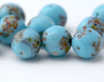 Vintage Turquoise Glass Round Millefiori Beads Japan 8.5mm (10)