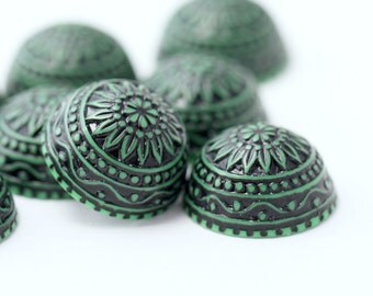 Vintage German Cabs Lucite Etched Green Black Cabochons Carved Round Flatbacks 18mm (8)