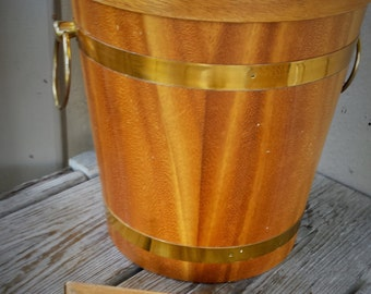 KMC Mid Century 1950's Wood Ice Bucket with Aluminum Liner and Tongs