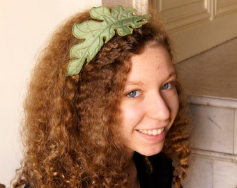 SALE Acanthus Leaf Headband Hairband Fascinator Green Silk Botanical Accessory