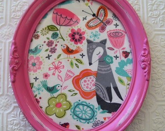 Girl's room Wall hanging Wall decor Vintage frame Cottage Chic Woodland Nursery Bright pink Aqua Fox Butterflies Birds Upcycled