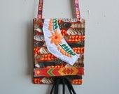 Mini Feather Print Fabric Mexican Floral Embroidered Handbag Tote Purse Festival Boho Hippie Bohemian Eco Friendly Essentials Bag