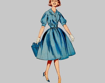 1960 Rockabilly Dress pattern Butterick 9332 Full skirt Kimono sleeve Gathered skirt Wide belt Notched collar Size 16 Bust 36