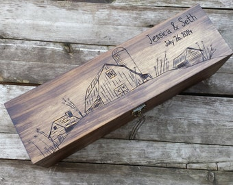 Barn wedding wine box, rustic wine box, wine box ceremony, personalized wine box, love letter ceremony box, Wedding gift, anniversary gift