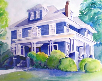 8x10 Traditional Custom House Portrait watercolor painting