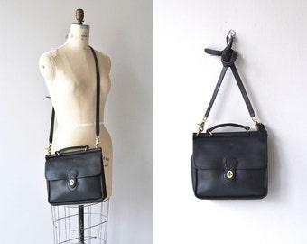 Coach Willis satchel | vintage black Coach bag • black leather Coach saddle bag