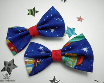 Rockets and Stars Hair Bow Set