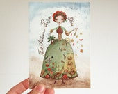 Postcard - Woman Season, calligraphy, 4 languages, Fall, Summer, Spring, Winter, Princess, watercolor illustration