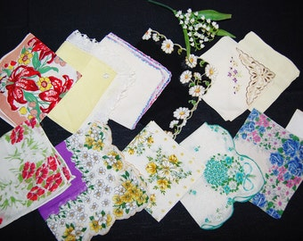 Vintage Hankies Twelve Fresh and Florals