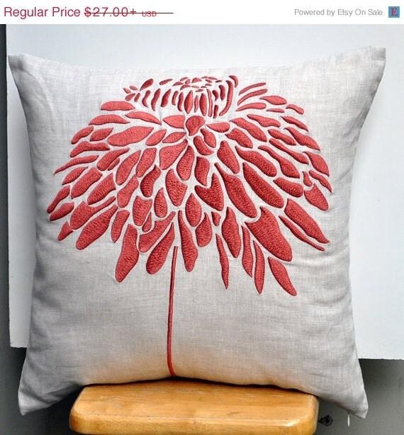 Tan Linen Throw Pillow : Orange Flower Throw Pillow Cover Beige Linen Pillow by ...