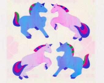 Rare Vintage Retro 80s Great Seven Pearly Unicorns Sticker Mod
