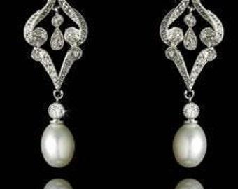 Vintage style pearl wedding earrings  inspired Art Deco 1920s style  freshwater pearl crystal drop wedding bridal earrings silver tone