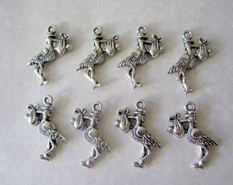 Tibetan Silver Stork Carrying Baby Charms - Set of 10 - 24x19mm