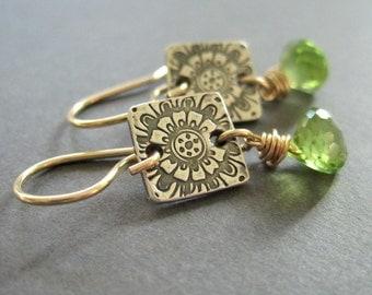 Peridot Earrings, Mixed Metal Earrings, Fine Silver Gemstone Dangle, Birthstone Earrings