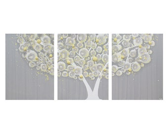 Large Canvas Art Painting - Gray and Yellow Textured Tree Wall Art - Extra Large 62x24 - MADE TO ORDER