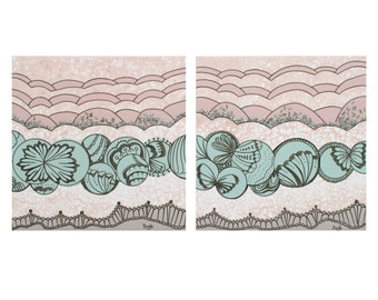 Butterfly Nursery Art - Two Abstract Paintings on Canvas for Baby Girl - Teal and Pink - Small 21x10
