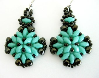 Beaded Earrings / Superduo Earrings / Seed Bead Earrings in Turquoise and  Brown  / Sterling Silver Earrings  / Beadwoven Earrings