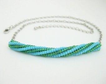 Tube Necklace / Herringbone Necklace / Beaded Necklace in Turquoise / Tubular Herringbone Tube Necklace  / Twisted Herringbone Necklace /