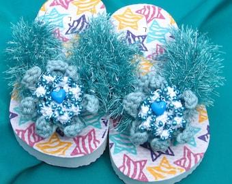 Girl's Flip Flops Ocean Mist Sandals Aquamarine Toddler Girl's Flip Flop Crochet Dercorated Sandals Size 9/10 Flip Flops Flower Girl Sandals
