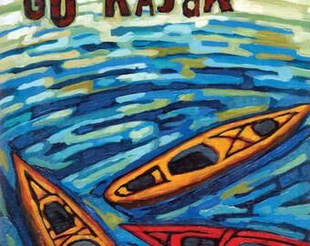Kayak print, kayak art, 8x10