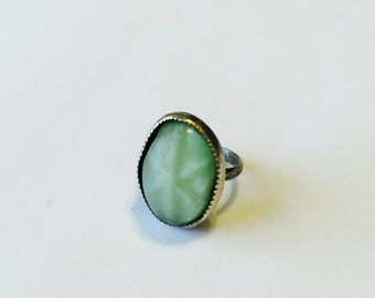 Vintage Sterling Silver Baby Ring Aqua Stone Small Size Childs Jewelry