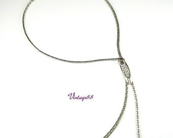 Necklace Lariat Style Silver tone Chain
